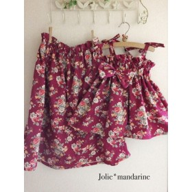 【受注オーダー】親子でお揃いコーデ♪ママ用ギャザースカートとお子様用4wayワンピース&スカートセット(チェリーボルドー)