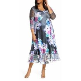 コマロフ KOMAROV レディース ワンピース ワンピース・ドレス Floral Print Charmeuse & Lace A-Line Dress Lavendar Vine