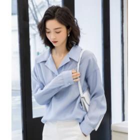 (SAISON DE PAPILLON/セゾン ド パピヨン)ワンボタンデザインオープンカラーシャツ/レディース ブルー