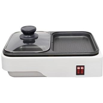 オーム電機 COK-YH100B-W 【鍋料理と焼き料理を一度に】2WAYプレート (COKYH100BW)