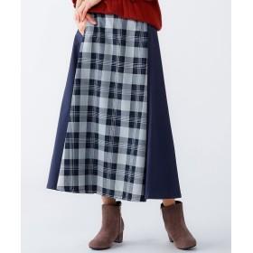 チェック柄切替ロング丈フレアスカート(オトナスマイル) (大きいサイズレディース)スカート,plus size