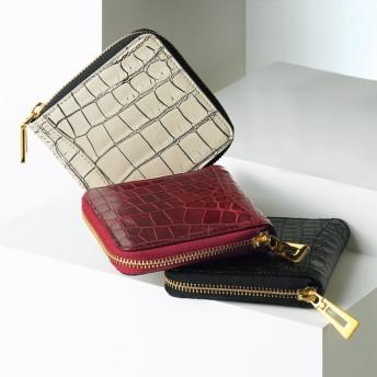 クロコダイル コンパクト 三方ファスナー財布ブラック