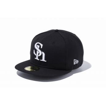 NEW ERA ニューエラ 59FIFTY NPB 福岡ソフトバンクホークス ブラック × ホワイト ベースボールキャップ キャップ 帽子 メンズ レディース 7 1/2 (59.6cm) 11121929 NEWERA