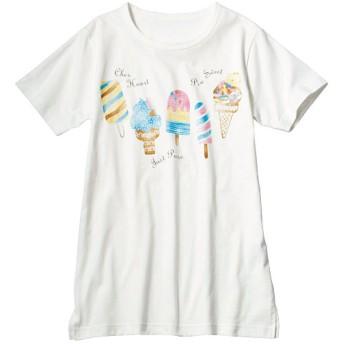 50%OFF【レディース】 綿100%Tシャツ(セミロング丈) - セシール ■カラー:オフホワイト ■サイズ:L,LL,3L