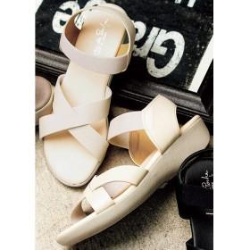 GeeRA 日本製クロスサンダル ホワイト L レディース 5,000円(税抜)以上購入で送料無料 サンダル 夏 レディースファッション アパレル 通販 大きいサイズ コーデ 安い おしゃれ お洒落 20代 30代 40代 50代 女性 靴 シューズ