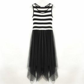 LUOSHA ドレス ノースリーブ ストライプドレス メッシュ+コットンビーチドレスVestid striped
