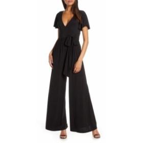 エリザジェイ ELIZA J レディース オールインワン ワンピース・ドレス Flutter Sleeve Wide Leg Jersey Jumpsuit Black