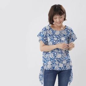 Elisa コットン プリント Knot-side トップス シャツ ブルー