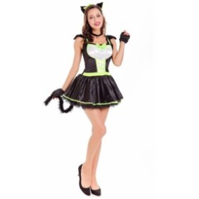 ハロウィン ワンピース 大人用 猫娘 Halloween衣装  コスプレネコ耳 コスチューム 仮装 パーティー用 セクシー 欧米風 クリスマス レディ