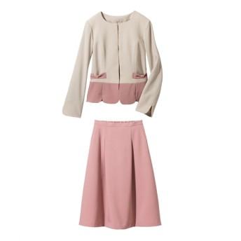 2点セット(ノーカラージャケット+フレアスカート)(プライベートレーベル) セレモニースーツ(式服・受験・七五三・発表会),women's suits ,plus size