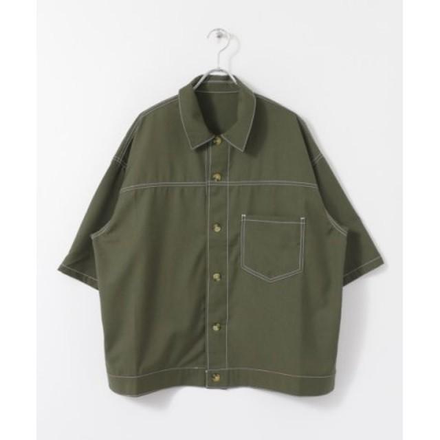 (SENSE OF PLACE/センスオブプレイス)ステッチアウトルーズシャツ(5分袖)/メンズ KHAKI