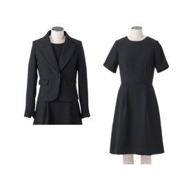 小さいサイズ テーラードアンサンブル(ジャケット+セミフレアタック入ワンピース) 【小さいサイズ・小柄・プチ】(ブラックフォーマル)Women's Suits, 套装, 套裝