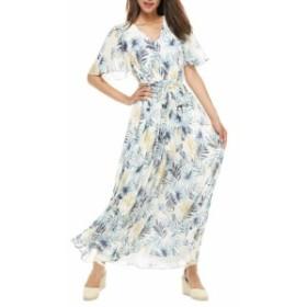 ギャルミーツグラム GAL MEETS GLAM COLLECTION レディース ワンピース ワンピース・ドレス Kiki Leaf Print Chiffon Maxi Dress Blue/Go