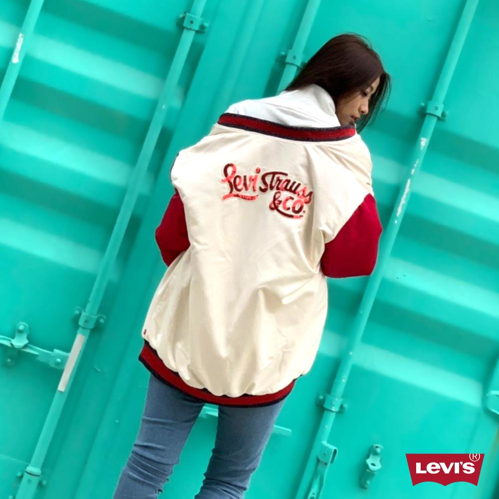 Levis 女款 棒球外套 / 亮片LOGO / 長版