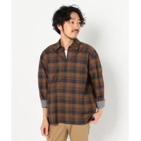 フレディアンドグロスター スキッパー七分袖 チェックシャツ メンズ ブラウンベージュ系1 S 【FREDY & GLOSTER】