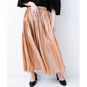 haco! 【裏地付き】【人気色追加】1枚でも重ね着にも便利なキラキラ素材がかわいいロングスカート by laulea(ライトブラウン)