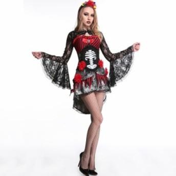 ハロウィン仮装 Halloween 悪魔コスチューム 吸血鬼 セクシーセット 骸骨 花嫁ワンピース レディース 鬼新婦 怖い コスプレ衣装 グッズ