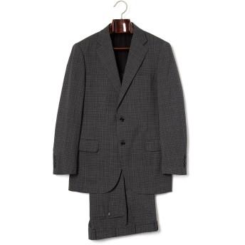 【79%OFF】シルク混 チェック ノッチドラペル スーツ グレー a4