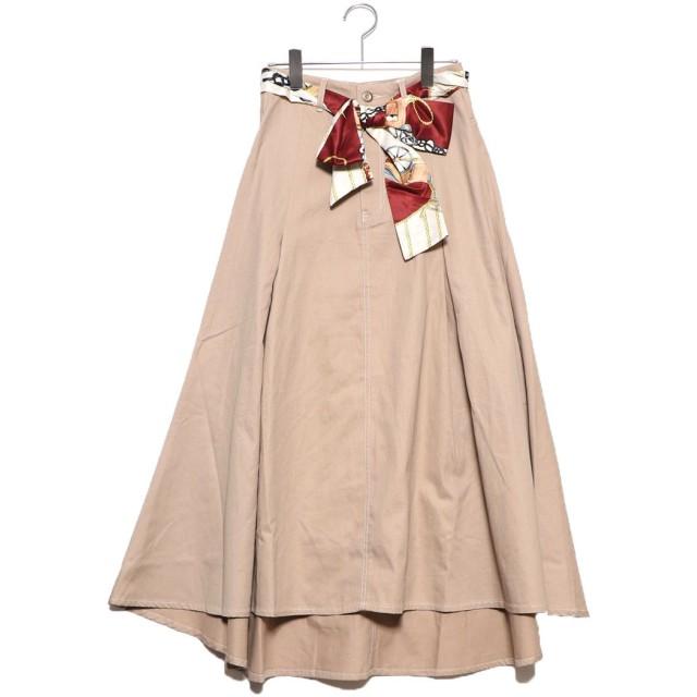 ジーラ GeeRA スカーフ付ロングフレアースカート (ベージュ)
