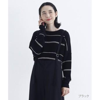 メルロー ランダムボーダークルーネックニット レディース ブラック FREE 【merlot】