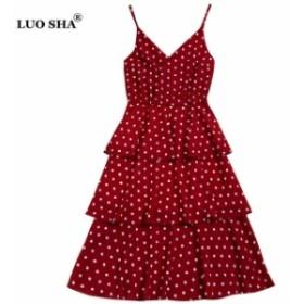 LUOSHA スパゲッティストラップ 水玉 ケーキドレス 背中の開いたビーチドレス 休日Vestidos red