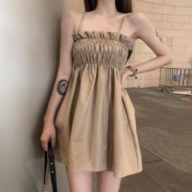 フレアーワンピース サマードレス 2色 ブラック カーキ 無地 ワンカラー キャミソールドレス 可愛い セクシーキュート ガーリー