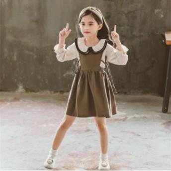 子供服 女の子 長袖 ワンピース 2點セット 子ども キッズ ジュニア 春秋服 ニットシャツドレス キッズ セットアップ ワンピ
