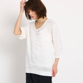 クードシャンス COUP DE CHANCE ◆【洗える】レーヨン麻ゼブラニット (ホワイト)