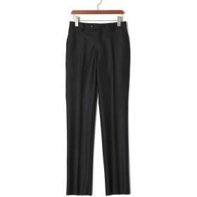 【78%OFF】フロントタブ センタープレス パンツ ブラック 72