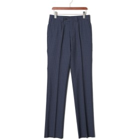 【77%OFF】チェック フロントタブ センタープレス パンツ ネイビー 79