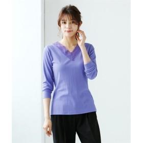 人気のため新色追加!!Vネックカットソーレーストップス (大きいサイズレディース)Tシャツ・カットソー