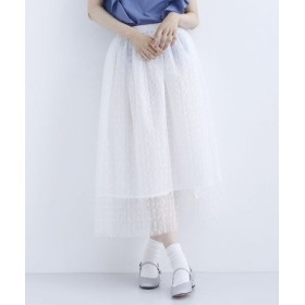 (merlot/メルロー)ラメ刺繍チュールロングスカート/レディース ホワイト