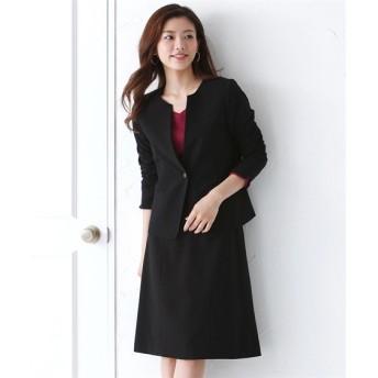 洗えるタテヨコストレッチスカートスーツ(キーネックノーカラージャケット+セミフレアスカート)【レディーススーツ】 (大きいサイズレディース)スーツ,women's suits ,plus size