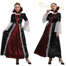 ハロウィン 吸血鬼 プリンセス クイーン 大人用 コスプレ コスチューム パーティー レディース ワンピース