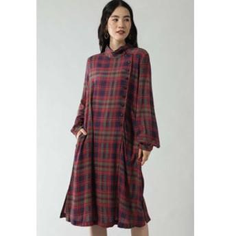 新規会員登録で3,000円OFF!【ROSEBUD:ワンピース】CHECK PRINT BUTTON DRESS