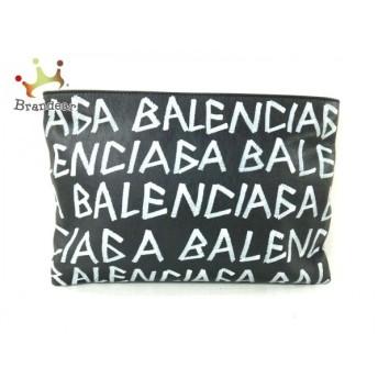 バレンシアガ BALENCIAGA クラッチバッグ 新品同様 キャリークリップ 494040 黒×白 レザー 値下げ 20190815