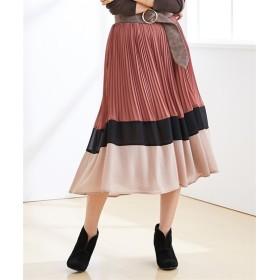 ジョーゼット配色プリーツスカート(セットアップ対応) (ロング丈・マキシ丈スカート),skirt