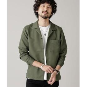 (nano・universe/ナノ・ユニバース)微起毛オープンカラーシャツ 長袖/メンズ カーキ 送料無料