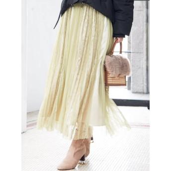 [MERCURYDUO]チュール×レースプリーツスカート