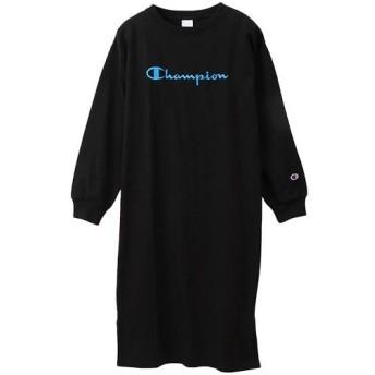 チャンピオン(Champion) レディース ワンピース ブラック(刺繍) CW-Q404 090 長袖 クルーネック スカート トレーニングウェア カジュアル