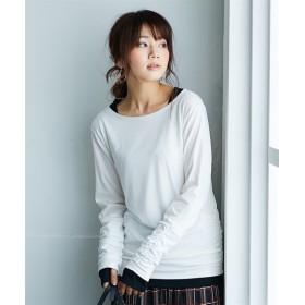 重ね着風指穴付ロング丈Tシャツ (Tシャツ・カットソー)(レディース)T-shirts