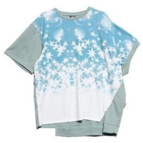 スカラー ScoLar 星宇宙アシメ半袖Tシャツ (グリーン)