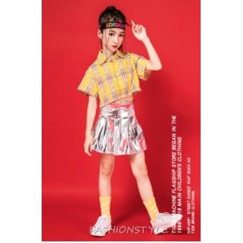 子供服 キッズ 女の子 韓国子供服 トップス 半袖トップス タンクトップ スカート 舞台服 ダンス衣装 ステージ服 チェック柄 単品