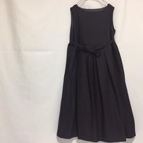 ノースリーブウエスト切替プリーツウール混紡ドレス【サイズ有り】【色有り】【受注製作】