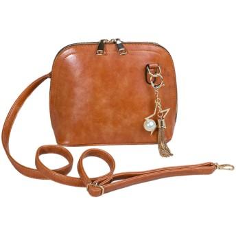 [フリフラ] 一流の職人が作る 鞄 ショルダー バッグ 肩掛け 小型 アクセサリー付きレディース 茶 キャメル