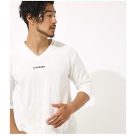 【50%OFF】 アズールバイマウジー パイルワンポイントロゴ刺繍Vネック七分袖T メンズ O/WHT1 S 【AZUL BY MOUSSY】 【セール開催中】