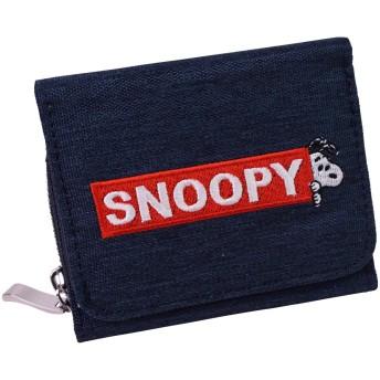 [スヌーピー] スヌーピー 財布 三つ折り 3つ折り ミニ レディース がま口 シンプル 大人 向け キュート SNOOPY キャラクター かわいい 小さい サイフ ショートウォレット (ネイビー)