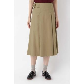 HUMAN WOMAN ピーチコットンツイル・ハイクールスカート ひざ丈スカート,モカ