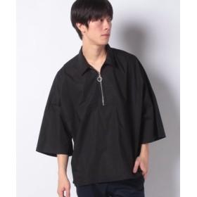(WEGO/ウィゴー)WEGO/コットンタイプライターハーフ7分袖ZIPシャツ/メンズ ブラック