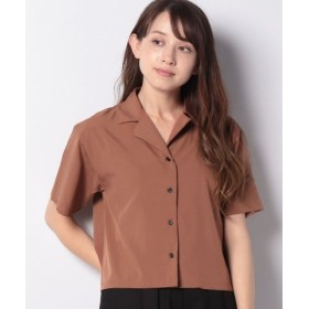 (WEGO/ウィゴー)WEGO/オープンカラークロップドシャツ/レディース ブラウン